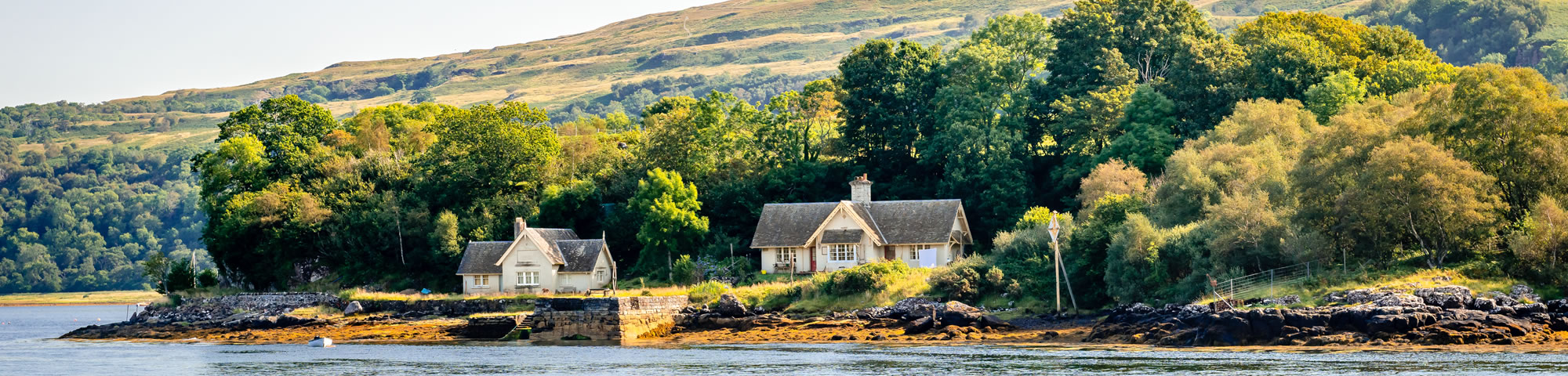 Two cottages at the mouth of Loch Aline near Morvern
