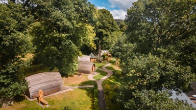 Birds eye view of our glamping pods in Drumnadrochit